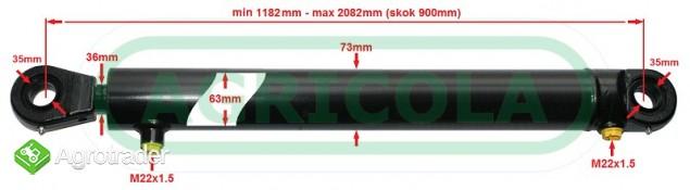 Cylinder hydrauliczny siłownik SKOK 900  L 1182 tłok 2-str działania - zdjęcie 1